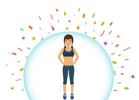 La mujer deportiva refleja las bacterias. Proteger el sistema inmunológico de las bacterias malas. Barrera contra virus.
