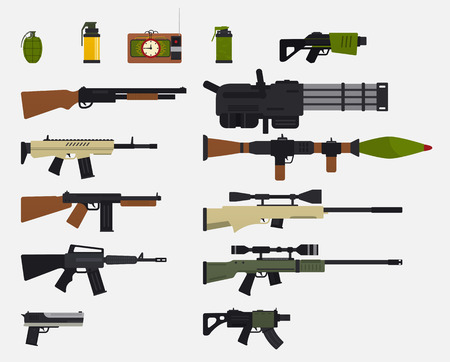 Set of military weapons, automatic firearms, rifles, shotgun, revolver, grenades, explosive device. Modern battle weapons.