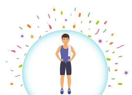L'uomo sportivo riflette i batteri. Proteggere il sistema immunitario dai batteri cattivi. Barriera contro i virus.