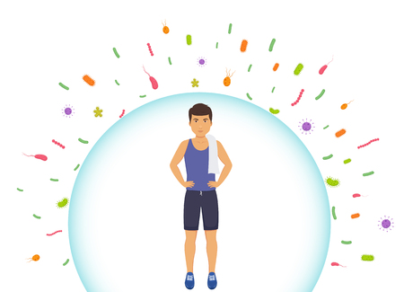 Sports man reflects bacteria. Protecting immune system from bad bacteria. Barrier against viruses. Illustration