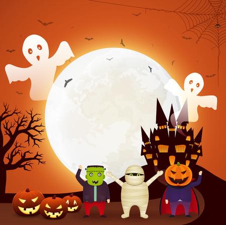 Feliz fiesta de Halloween en colores brillantes.