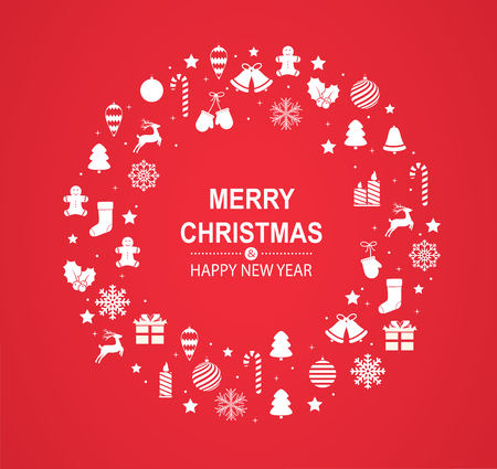 Merry Christmas and Happy New Year red greeting card with white festive decorations in form of circle.
