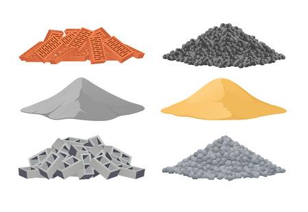 Building materials, a pile of bricks, cement, sand, cinder blocks, stones on white background. Vector illustration Illustration