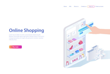Concept of sales, shopping. People shopping in online store using smartphone and a bank card. Web page or brochure,  3d vector illustration in flat isometric design.