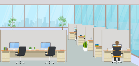 Modern office center with workplaces and employees. Empty workspace for co-working, design business room with large windows, furniture in the interior, desktops and chairs, computer equipment.