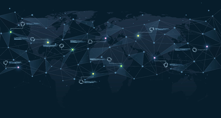 Structure of polygonal connections on world map with colored dots. Global network and digital data visualization. Concept of communication technologies and Internet businesses worldwide. 일러스트