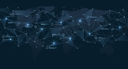 Structure of polygonal connections on world map. Global network and digital data visualization. Concept of communication technologies and Internet businesses worldwide.