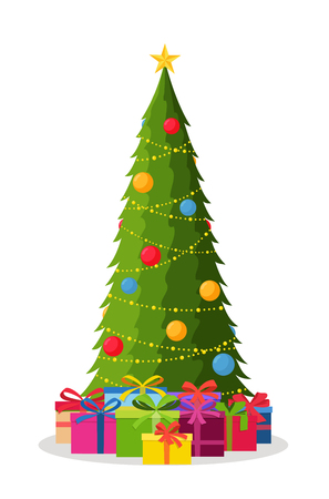 Decorated Christmas tree with decorations of balls and lamps, gift boxes. Happy new year. Winter holiday concept. 일러스트