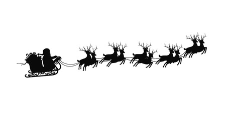 Santa  claus on sleigh with reindeers on on white background. Happy new year and merry christmas decoration, black silhouette. Stockfoto - 124927762