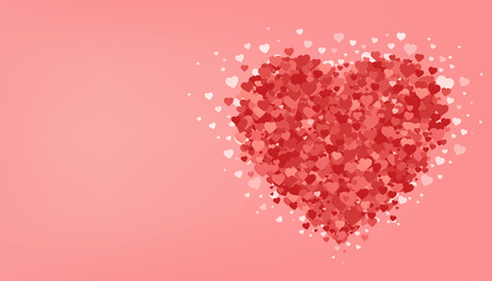 Big red heart on pink background. Valentines day. Romantic greeting card. Love festive poster. Vector illustration.