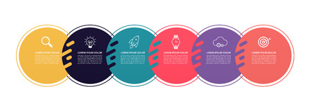 Infographics circles pattern design with 6 step structure. Template diagrams, pesentation and chart, pie chart lines, business concept.