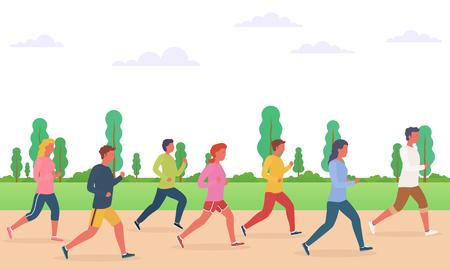 Group of people running. Concept of running men and women, marathon, jogging. 일러스트