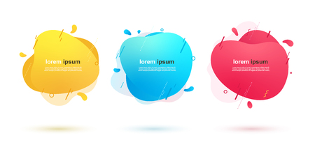 Abstract liquid shapes banners with geometric lines and dots. Dynamic color elements for design.
