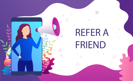 Woman screams in megaphone, Refer a friend, recommend to  friend. Landing page marketing concept, blogging promotion services, web sites, mobile apps.