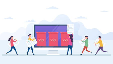 Online voting concept, electronic voting system with computer screen. Voters with newsletters in hands, ballot boxe, election internet system. Stock Illustratie