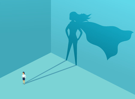 Businesswoman with shadow superhero. Super manager leader in business. Concept of success, quality of leadership, trust, emancipation. Vector illustration