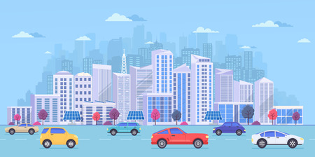 Cityscape with large modern buildings, city  transport, traffic on the street. Highway with cars on a blue background. 일러스트