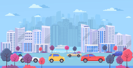 Cityscape with large modern buildings, urban transport, traffic on street, park with color trees and river. Highway with cars on blue background. Vetores