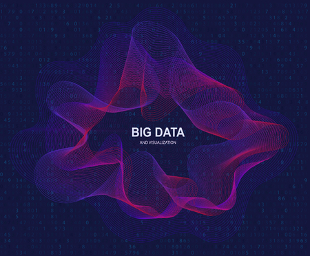 Circular visualization of big data, artificial intelligence. Flow concept and data transmission.