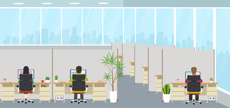 Modern office interior with employees. Office space with panoramic windows, creative workplace. 일러스트