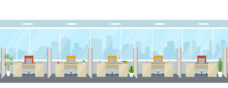 Modern empty office interior with workplaces. Office space with panoramic windows. Illustration