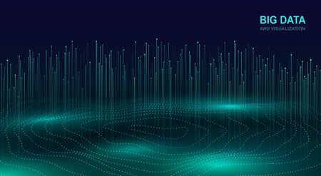 Big data visualization. Futuristic cosmic design of data flow. Abstract digital background with flowing particles. Glowing fractal element with lines. 일러스트