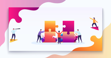 Business teamwork concept. Team of people connects parts of puzzles, purpose of thinking, business decision. Modern vector illustration concept for web design 일러스트