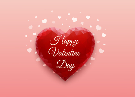 Red heart on pink background in form of polygonal triangles. Valentines day. Romantic greeting card. Love festive poster. Vector illustration.