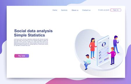 Team of people analyzing customer profiles working on landing page, social media marketing, application management. Modern digital marketing concept, vector illustration.