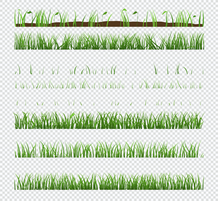 Set of elements green grass with plants isolated on transparent background. 일러스트
