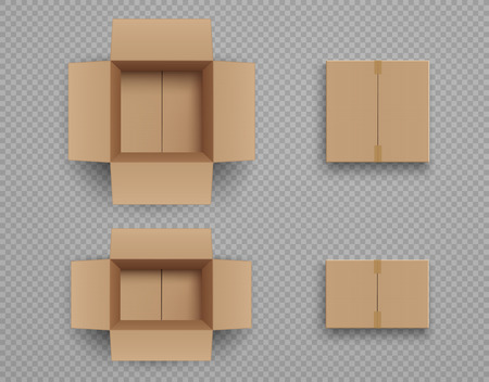 Set of mockup closed and open cardboard boxes Isolated on transparent background. Ilustração