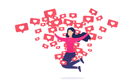 Girl rejoices and jumps from like notifications. Internet addiction to other users and their approval.