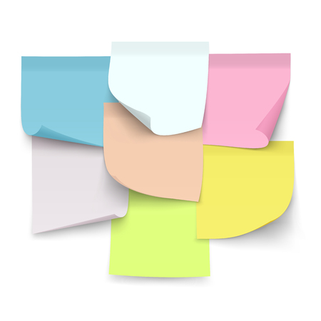 Set of sticky color notes. Sheets of paper with curled corners for notes. 일러스트