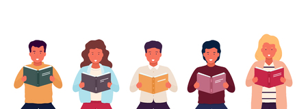 Group of people reading books. Young stylish people with open books in their hands. Men and women during  teaching.