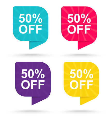 Sale discount sticker 50. Promotional tags special offers. 일러스트