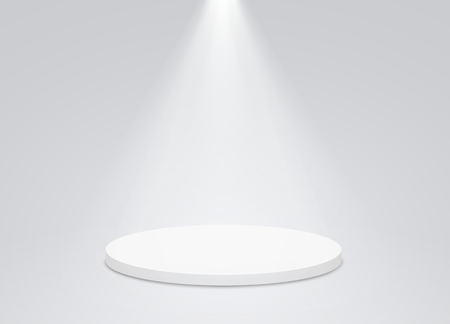 Round podium pedestal with bright lighting, a searchlight. Winner podium, first place for presentation of trophies or awards.