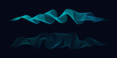 Abstract dynamic waves of lines and dots flowing on dark background. Concept of music waves science or technology AI.