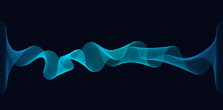Abstract dynamic waves of lines flowing on dark background. Concept of music waves science or technology AI. 일러스트