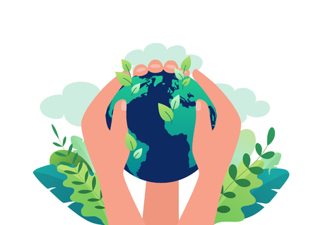 Earth Day concept of clean ecology of our planet, renewable energy. Hands hold the globe closing earth from pollution. Vector illustration save our planet.