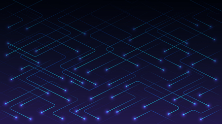 Vector technology lines with glowing particles on blue background. Concept of high-tech digital AI technology , communications, science techno design.