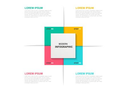 Modello infografico quadrato con icone e 4 passaggi o opzioni. Concetto di business, layout del flusso di lavoro, diagramma di flusso. Vettoriali