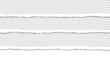 Ripped paper strips for text or photo on a white background.