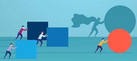 Geschäftsmann Superheld schiebt rote Kugel und überholt Konkurrenten. Konzept der Gewinnstrategie, Geschäftseffizienz, Führung. Vektorgrafik
