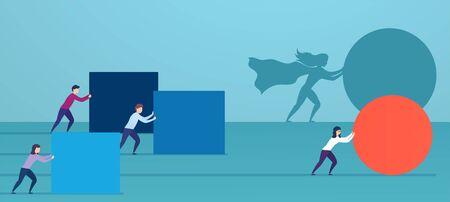 Geschäftsfrau Superheld drückt rote Kugel und überholt Konkurrenten. Konzept der Gewinnstrategie, Geschäftseffizienz, Führung.