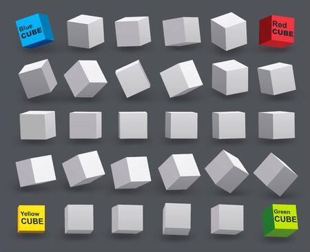 Set of white cubes in various tilt angles. 3D model of geometric shapes.