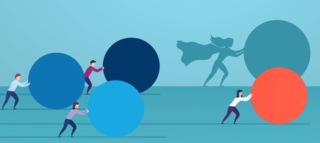 Business woman superhero pushes red sphere, overtaking competitors. Concept of winning strategy, business efficiency, leadership. Illustration