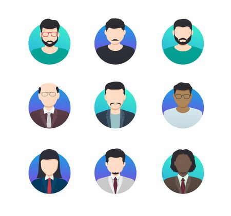 Avatar profiles minimalistic icons anonymous people of different nationalities. Illustration