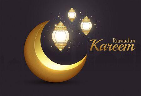 Ramadan Kareem Islamic brilliant golden crescent with glowing lanterns on background city.  イラスト・ベクター素材