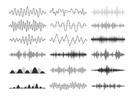 Black musical sound waves. Audio frequencies, musical impulses, electronic radio signals, radio wave curves. Иллюстрация