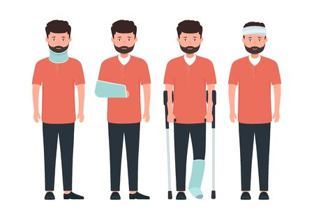 Man with various types of injuries. Character with  broken leg, arm and neck in cast. Ilustração